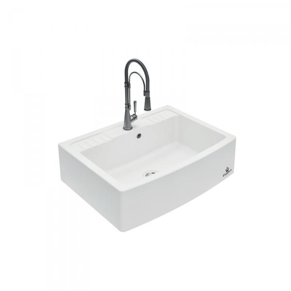 Evier haut de gamme Clotaire IV granit blanc - 1 grand bac